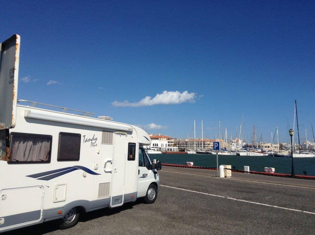 View from the front of the van on Almerimar marina