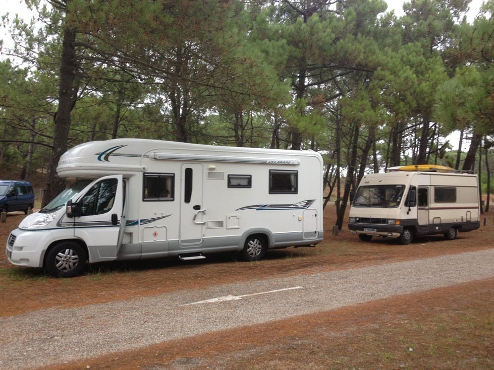 Both our motorhomes at the Le Porge site