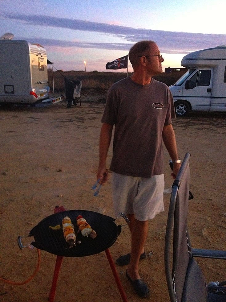 Ray cooking our evening meal on the aire