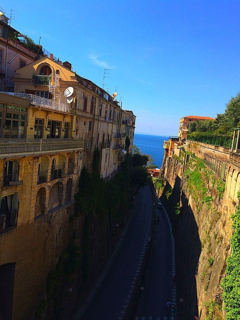 """Piazza Tasso overlooks a winding road down to Marina Piccola"" Sorrento, Italy"