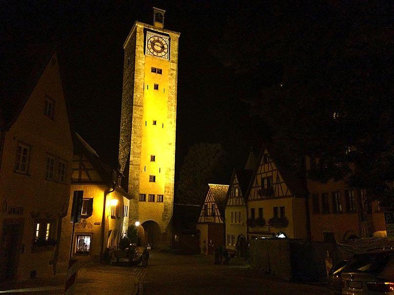 Clock Tower at Night, Rothernburg
