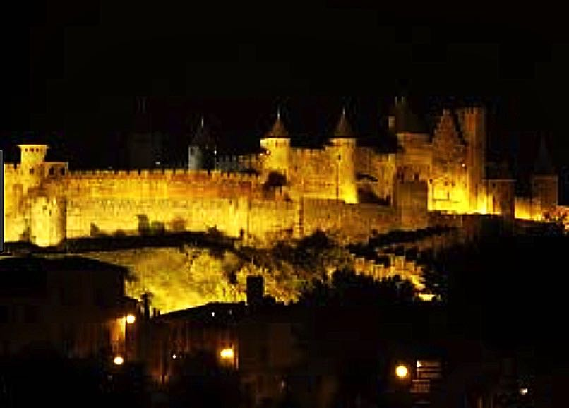 At night the walls are lit, quite a spectacle.