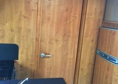 Auto-Trail Delaware 2009 door separating kitchen and bedroom area